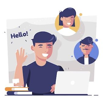 ノートパソコンで友達のビデオ通話