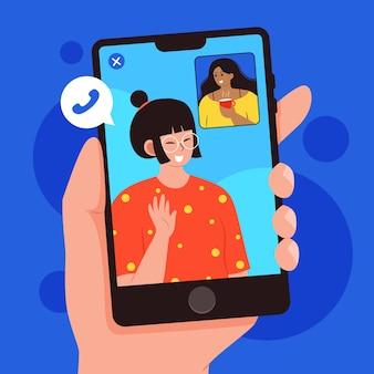 Friends video calling on phones illustration