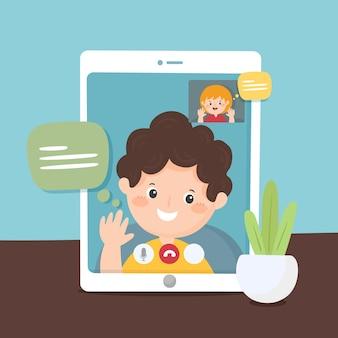Friends video calling on tablet illustration