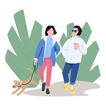 Friends walking with pet flat color vector faceless characters.