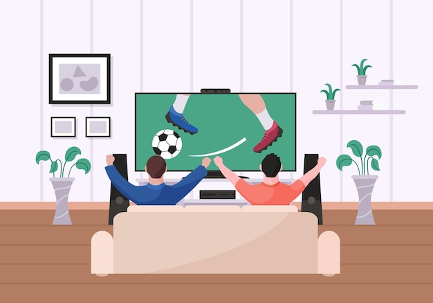 집 거실에서 축구를 보는 친구들