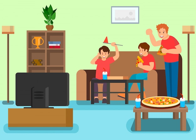 Friends watching television vector illustration