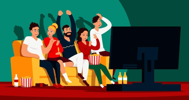 Друзья смотрят телевизор. мультяшные счастливые персонажи сидят на диване и смотрят фильм или показывают на потоковом сервисе. векторное изображение друзей вместе смотреть фильм или футбол