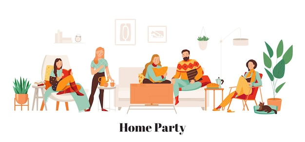 暖かい服を着ている友達は居心地の良いリビングルームフラットでホームパーティーをします