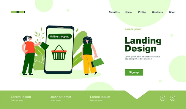 Friends with bags shopping for clothes online landing page in flat style