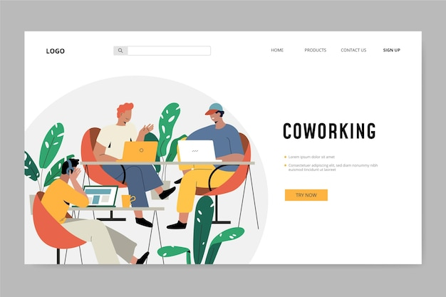 Friends at work coworking landing page