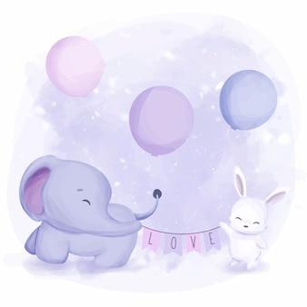友情動物の象とウサギ