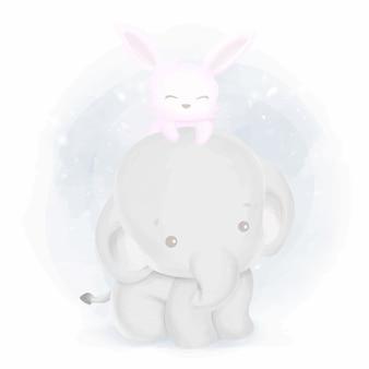 友情の赤ちゃん象とウサギ