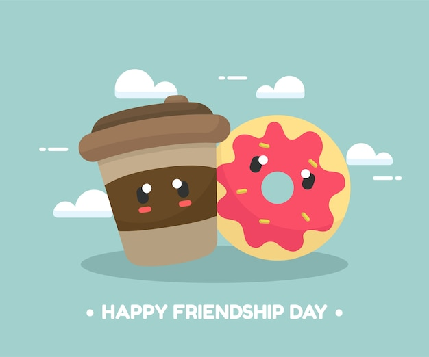 Friendship background with cute food cartoon