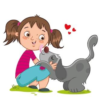 犬と少女の友情ベクトルイラスト