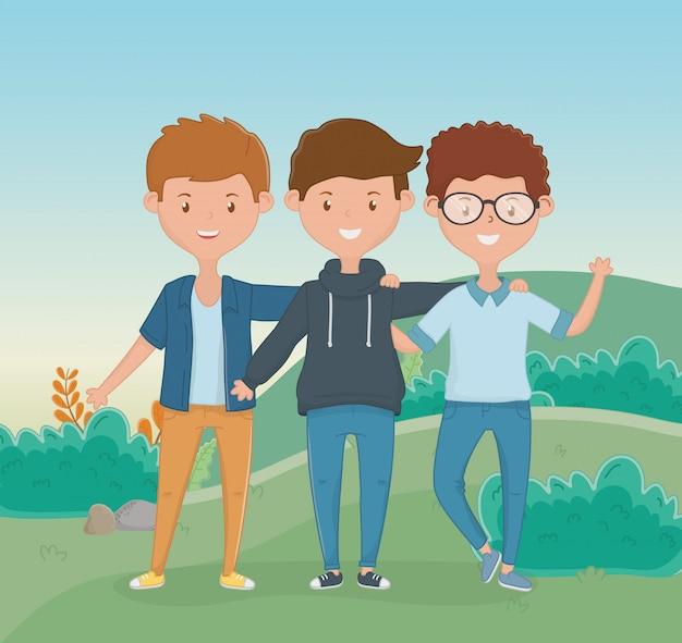 Friendship of boys cartoons design