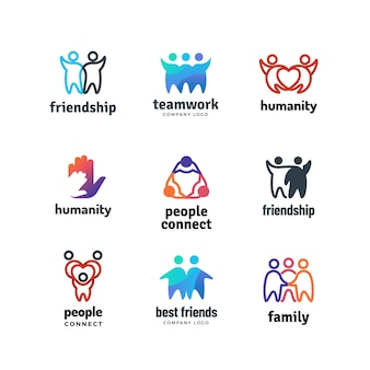 Friendship community friendly team people together cooperation  logo set