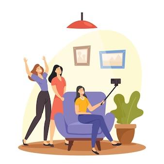 우정 개념입니다. 스마트폰으로 셀카를 만드는 행복한 여자 친구. 여자 친구 캐릭터 사진 촬영