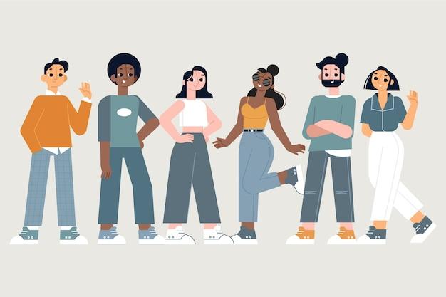 人々のグループとの友情の概念