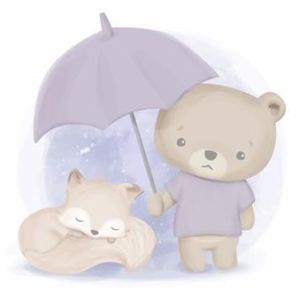 Friendship of cute animal bear and fox