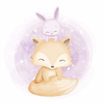 Friendship cute foxy and rabbit