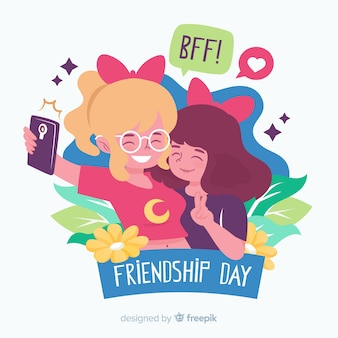 Friendship day background flat style