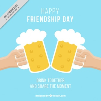 Friendship day background of toast with beer