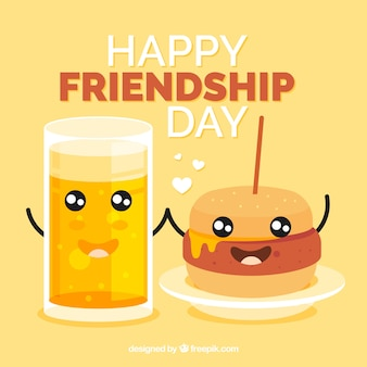 Friendship day background with burger and beer