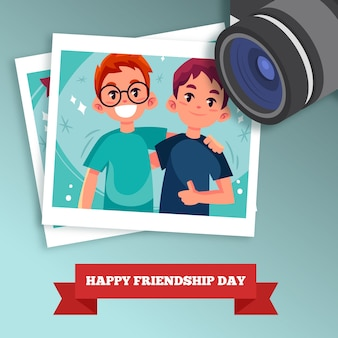 Friendship day background with camera and photo