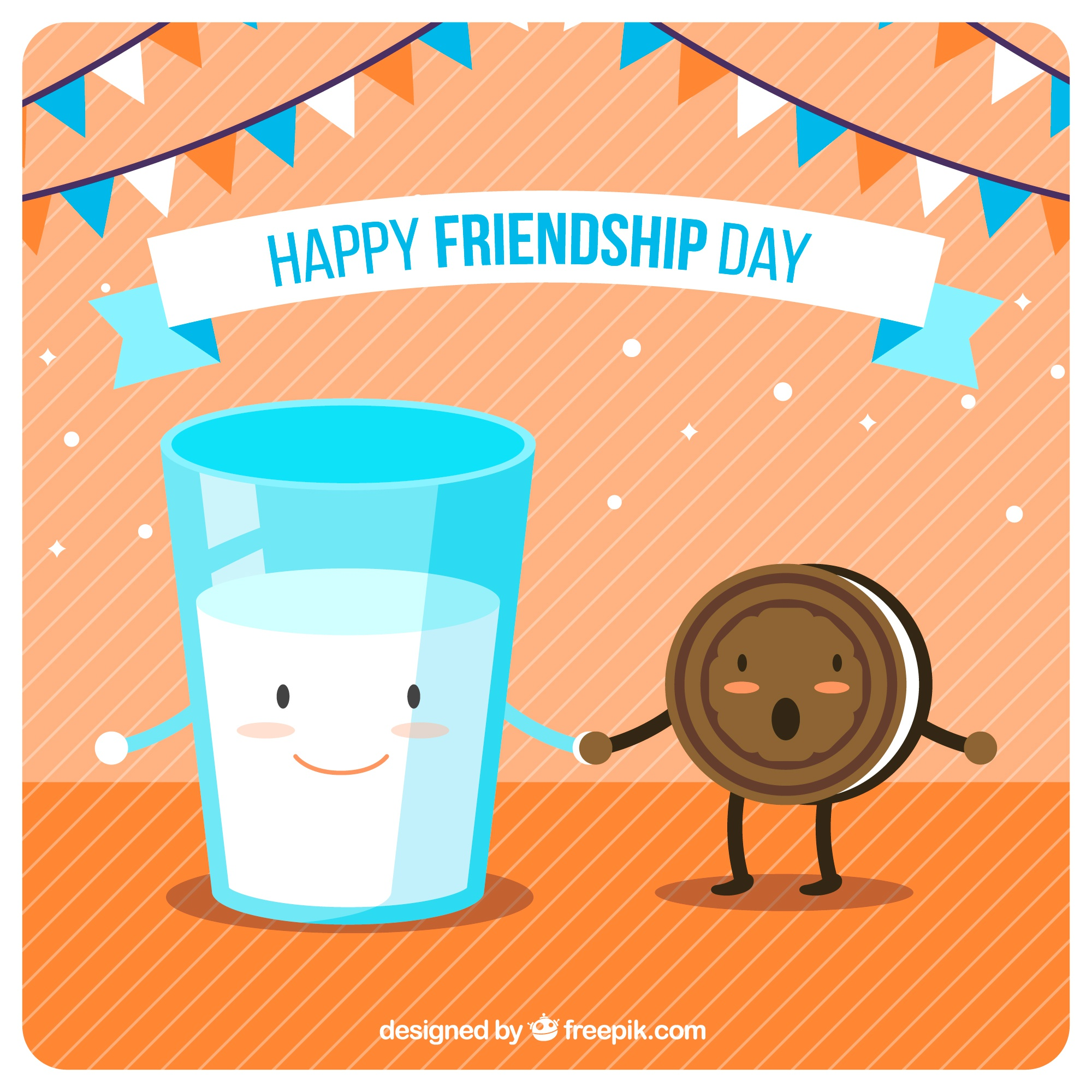 Friendship day background with cartoon food