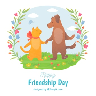 Friendship day background with cat and dog