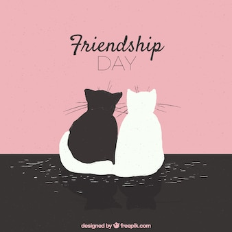 Friendship day background with cats