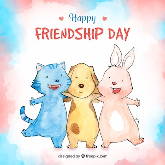 Friendship day background with cute aimals