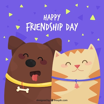 Friendship day background with cute animals