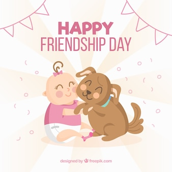 Friendship day background with cute baby and dog