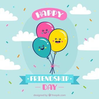 Friendship day background with cute balloons