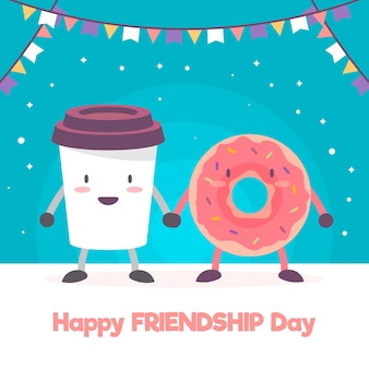Friendship day background with cute cartoon food