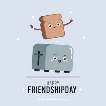 Friendship day background with cute cartoons