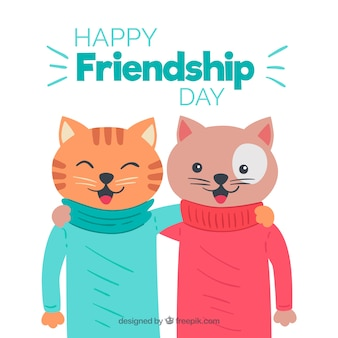 Friendship day background with cute cats