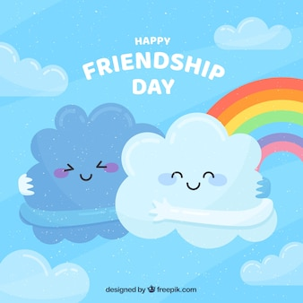 Friendship day background with cute clouds