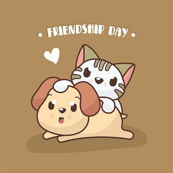 Friendship day background with cute dog and cat illustration