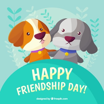 Friendship day background with cute dogs