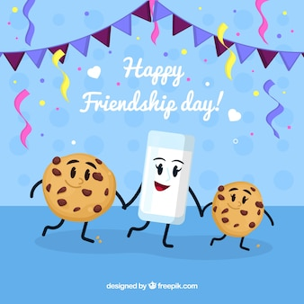Friendship day background with cute food