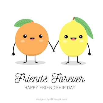 Friendship day background with cute fruits
