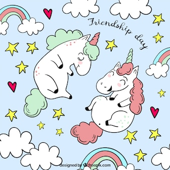 Friendship day background with cute unicorns