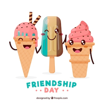 Friendship day background with delicious ice creams