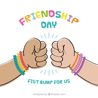 Friendship day background with fists