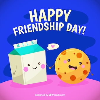 Friendship day background with food caricature