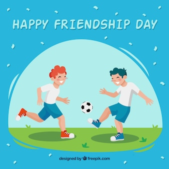 Friendship day background with friends playing
