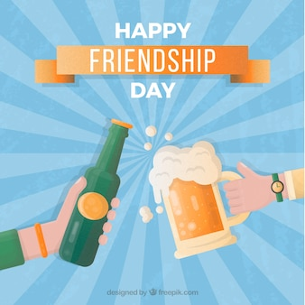 Friendship day background with friends toasting
