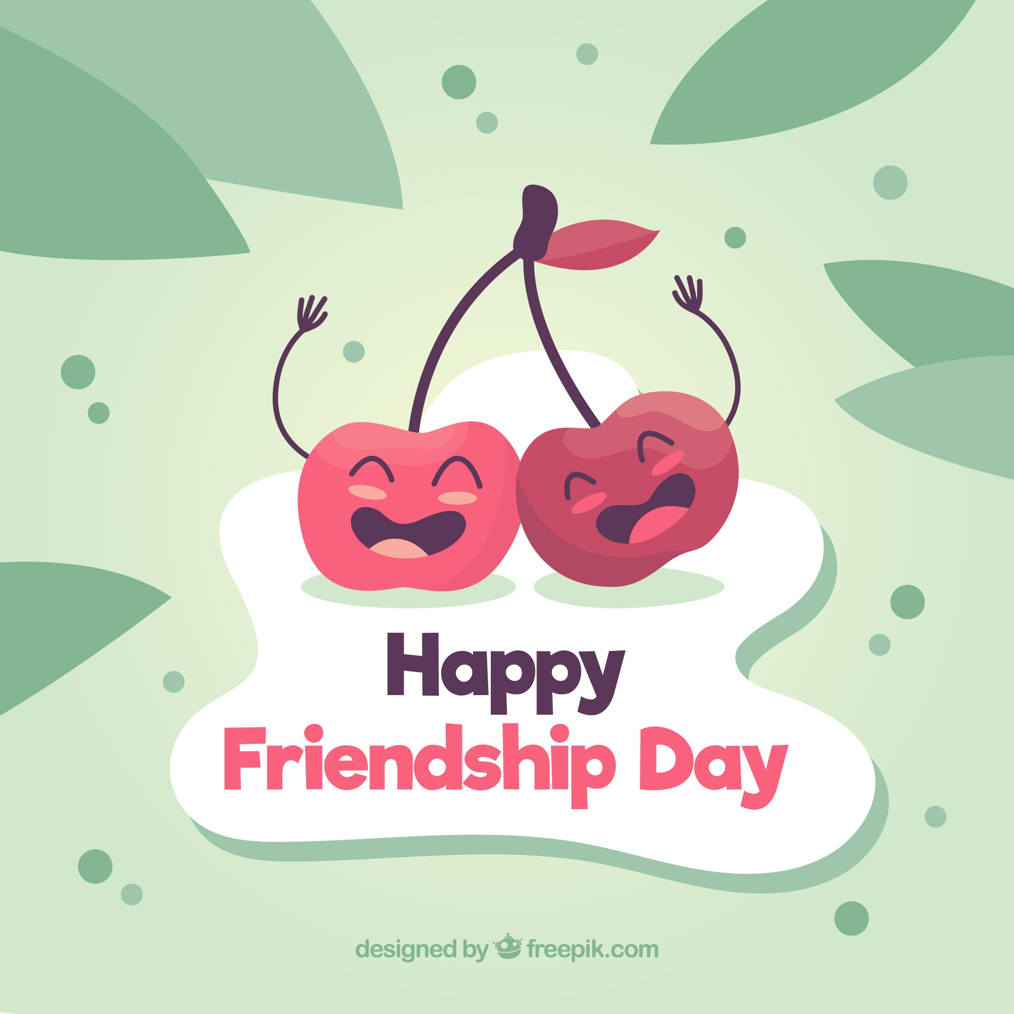Friendship day background with funny cherries