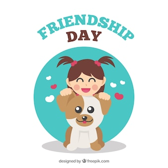 Friendship day background with girl and her dog