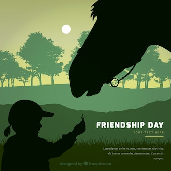 Friendship day background with girl and horse silhouette