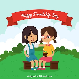 Friendship day background with girls in the park