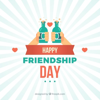 Friendship day background with hands holding beer